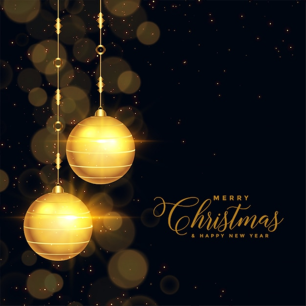 Beautiful black and gold christmas background Free Vector