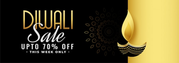 Beautiful black and gold diwali festival sale banner Free Vector