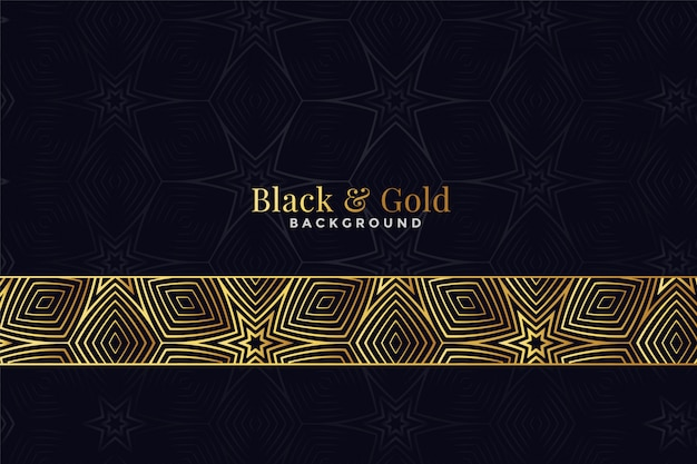 Beautiful black and golden pattern Free Vector