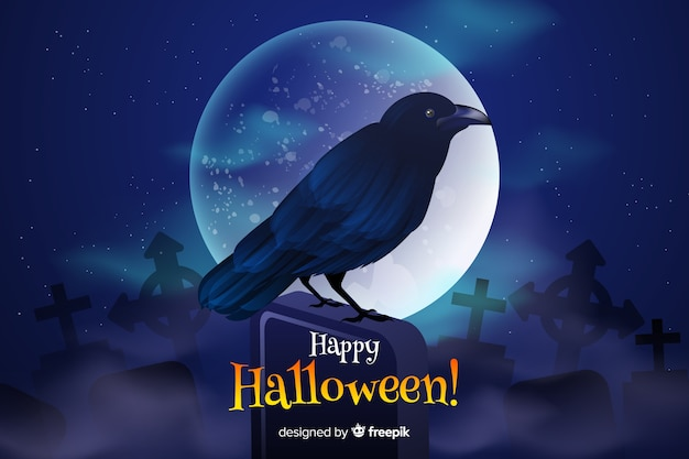 Beautiful black raven on a full moon night halloween background Free Vector