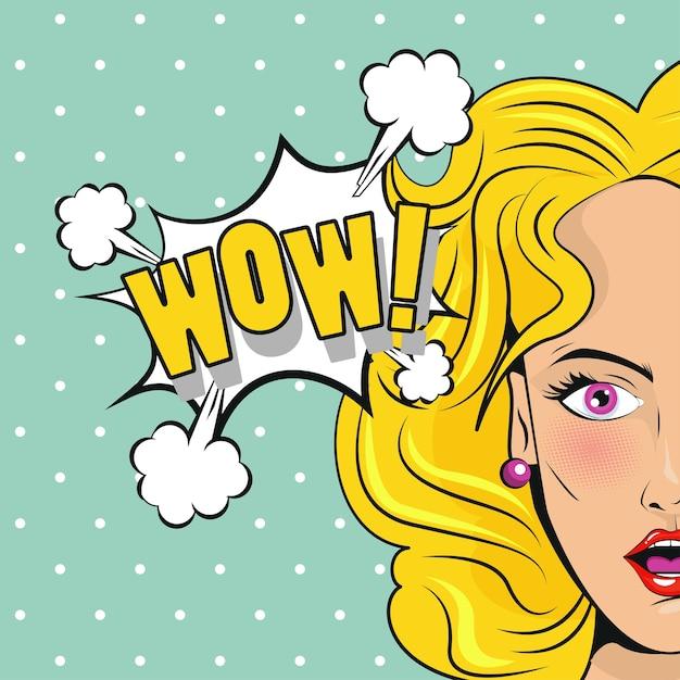 すごい単語のポップなアートスタイルポスターと美しい金髪の女性。 Premiumベクター