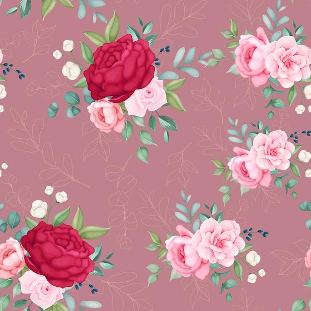 美しい花が咲き、シームレスなパターンを残します 無料ベクター