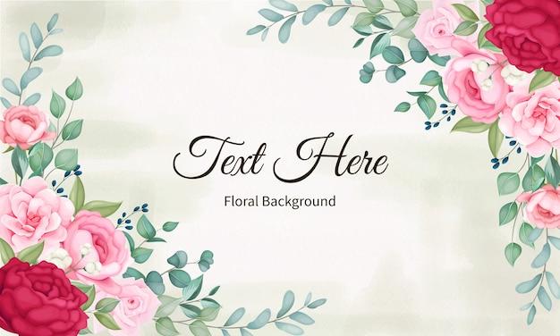 Bella fioritura floreale e foglie di sfondo Vettore gratuito