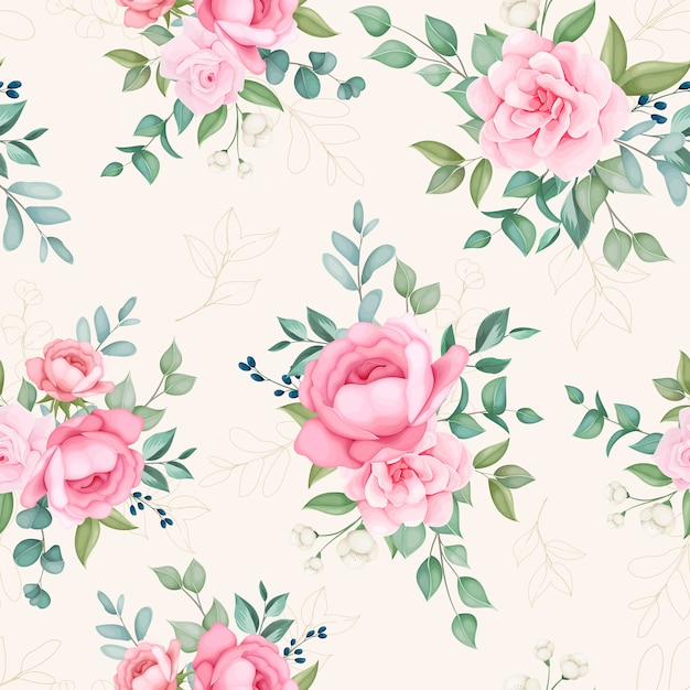 Beautiful blooming floral and leaves seamless pattern Free Vector