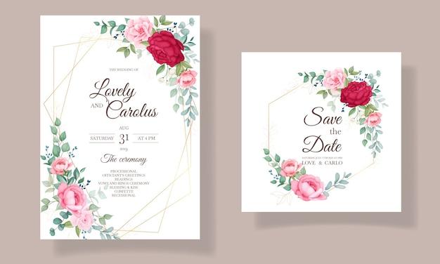 아름 다운 피 꽃 결혼식 초대 카드 세트 무료 벡터