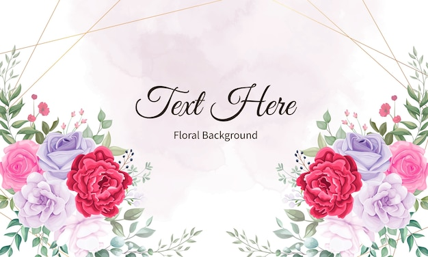 Beautiful blooming flower and leaves background Free Vector