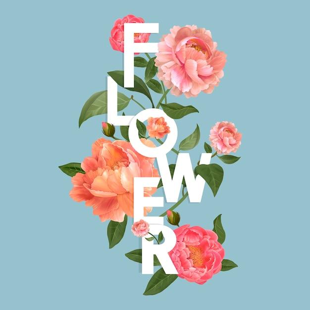 Beautiful blooming flowers design vector Free Vector