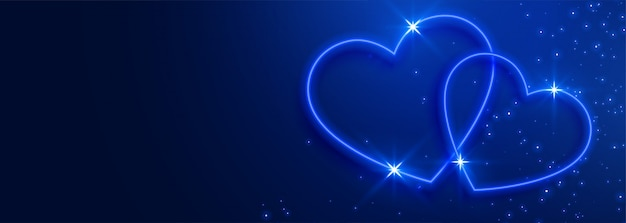 Beautiful blue hearts banner background Free Vector