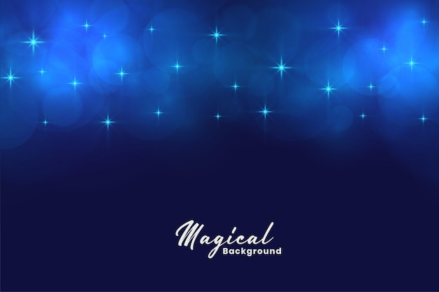 Beautiful blue magical stars and bokeh lights background Free Vector