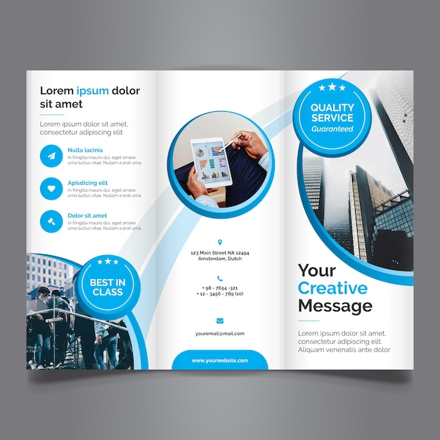 beautiful blue tri fold business brochure premium vector