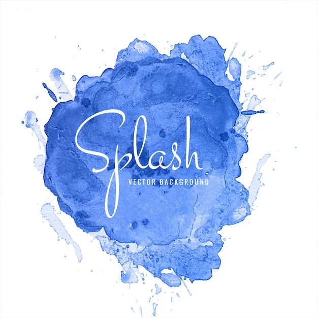 Beautiful blue watercolor splash design Free Vector