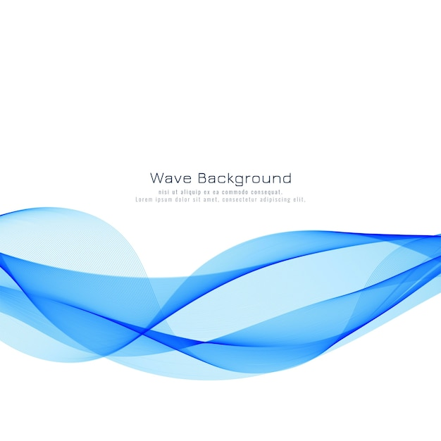 Beautiful blue wave background design Free Vector