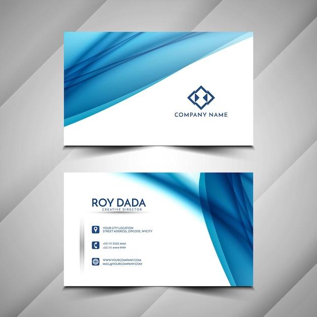 美しい青い波状の名刺デザインテンプレート 無料ベクター