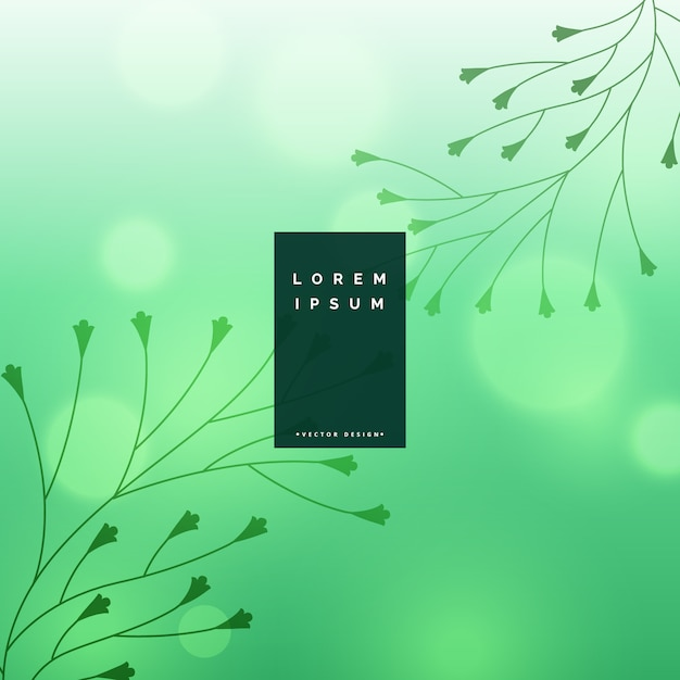 Beautiful bokeh background with floral leaves design Free Vector