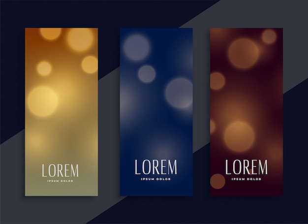 Beautiful bokeh banners set in three colors Free Vector