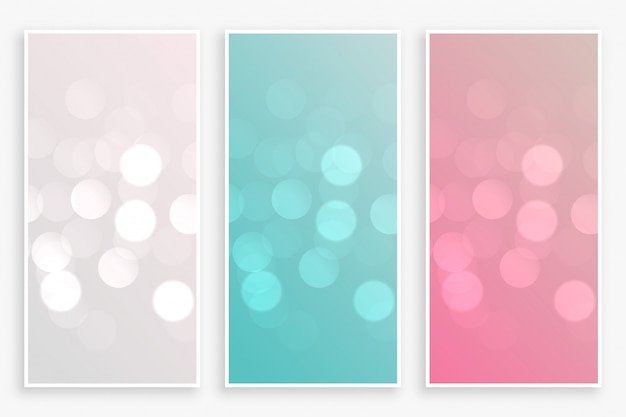 Beautiful bokeh banners set in three colors Free Vector