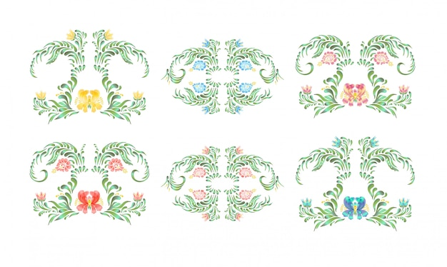 Beautiful border with flowers in vintage style. Premium Vector