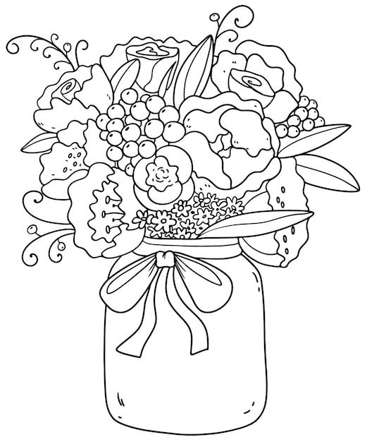 牡丹、バラ、デイジー、ライラックの美しい花束。ロマンチックな写真。 Premiumベクター