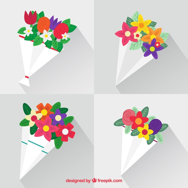 Beautiful bouquets in flat design