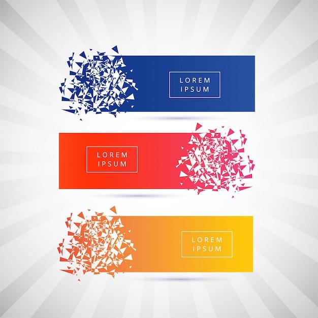 Beautiful broken banner colorful set vector Free Vector