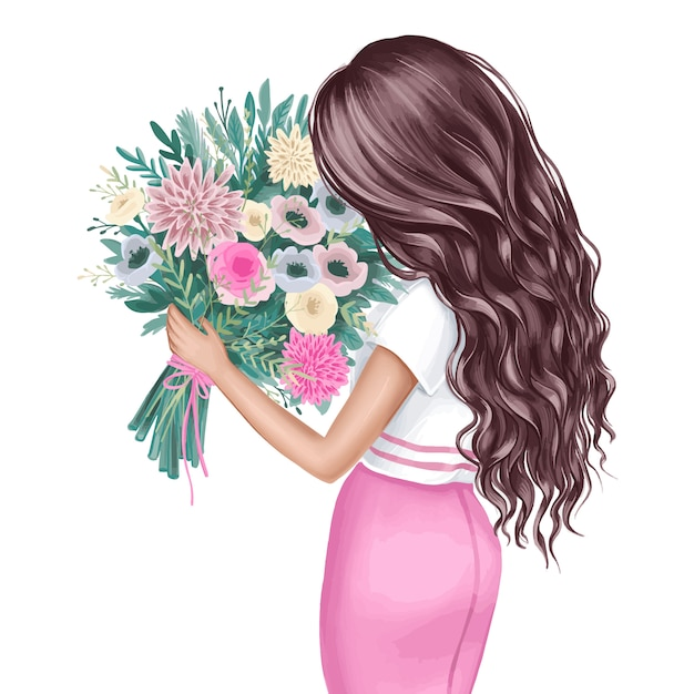 Beautiful brunette with a bouquet of flowers. fashion illustration. Premium Vector