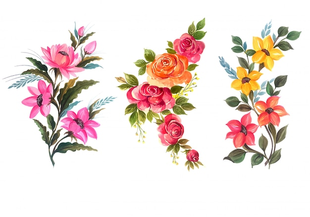 Beautiful bunch floral set vector illustration Free Vector