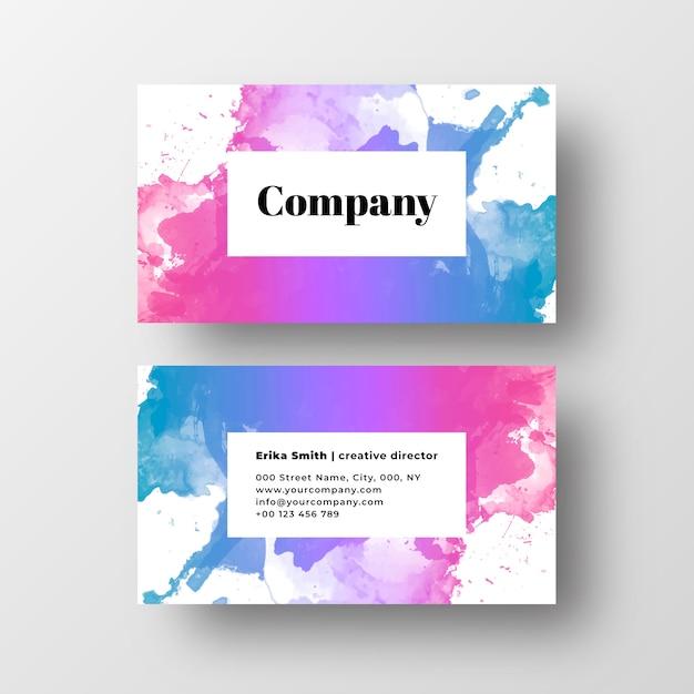 Colorfuf水彩スプラッシュと美しい名刺 無料ベクター