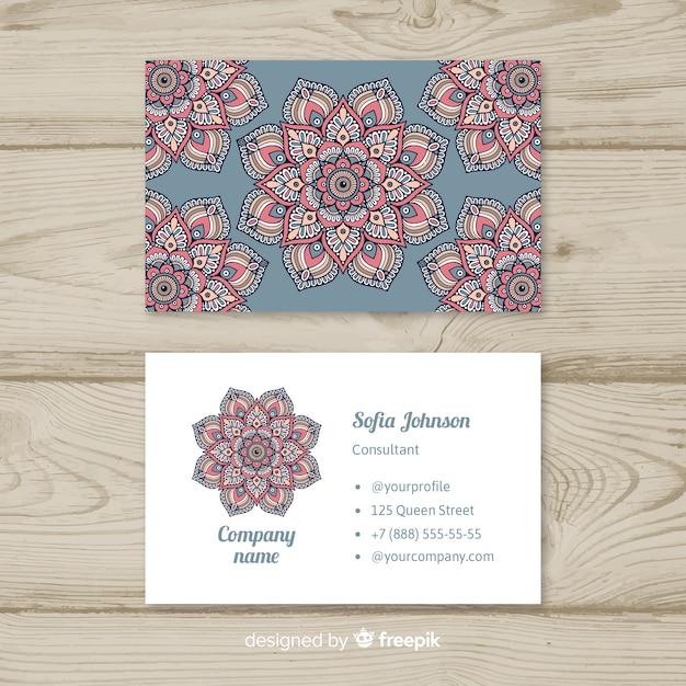 Beautiful Business Card With Mandala Design Free Vector