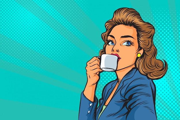 Beautiful business woman having coffee in the morning in pop art Premium Vector