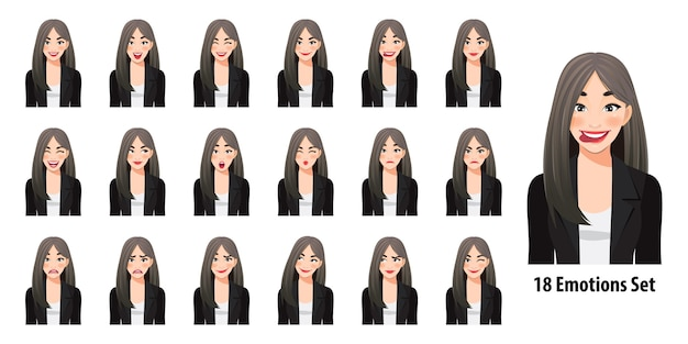 漫画のキャラクタースタイルで分離されたさまざまな表情の黒いスーツの美しいビジネス女性 Premiumベクター