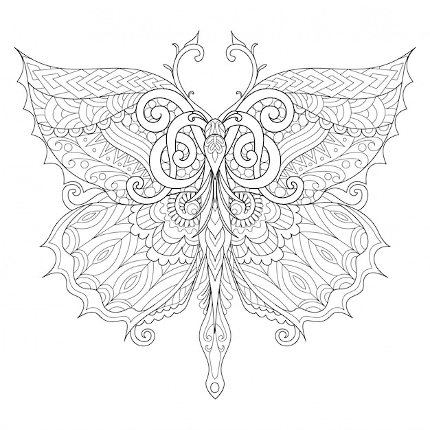 Beautiful butterfly for adult coloring book | Premium Vector