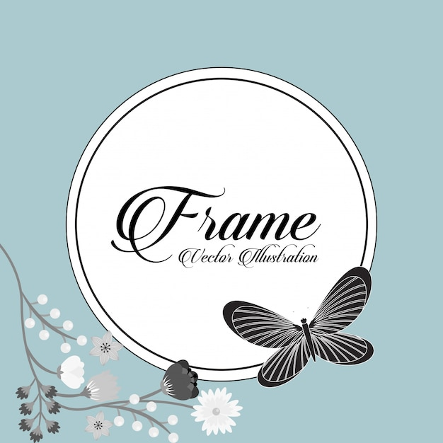 Beautiful butterfly frame Free Vector