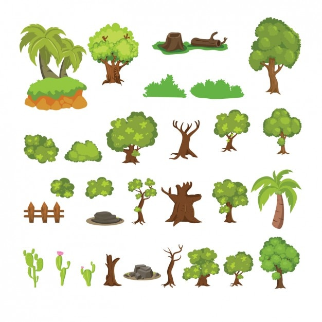Beautiful cactus and trees collection Free Vector