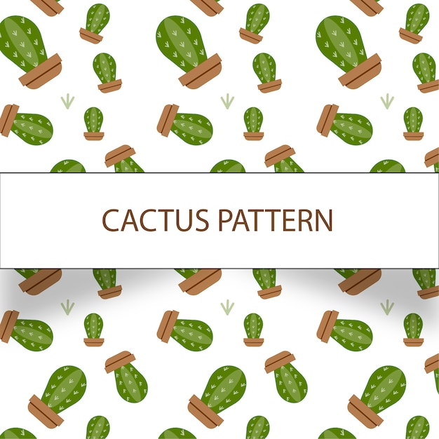 Beautiful cactus pattern on white background Free Vector