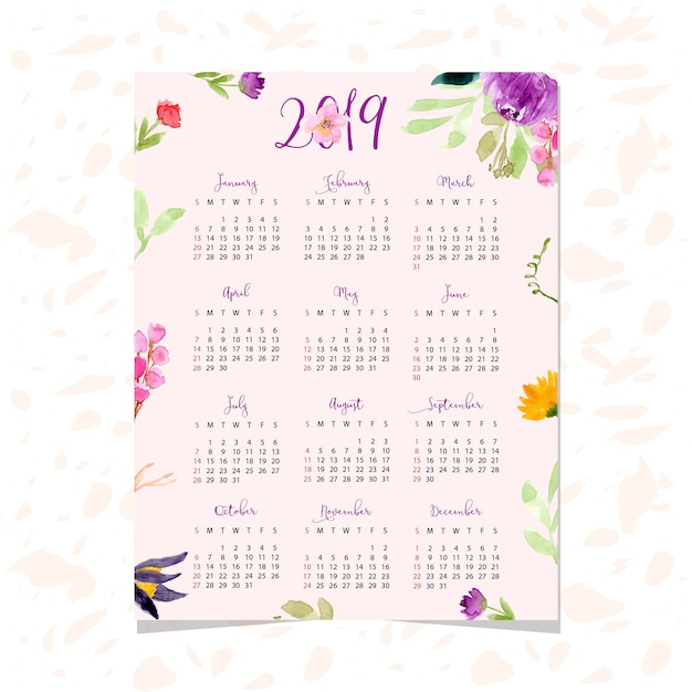 Calendario Rosa 2019.Beautiful Calendar 2019 With Floral Watercolor Background