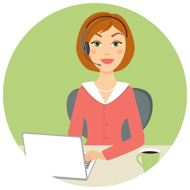 Bella donna call center con laptop e auricolare Vettore gratuito