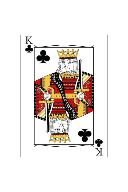the beautiful card of the king of clubs in classic style