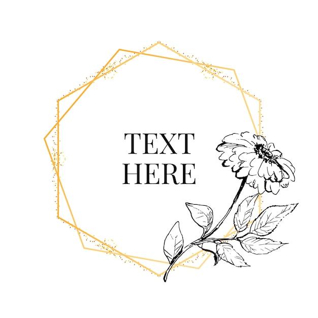 ビンテージガーデンのさまざまな花の丸い花輪を持つ美しいカード。バラ、アジサイ、ミントの背景に犬ローズの黒と白のフレーム。 Premiumベクター