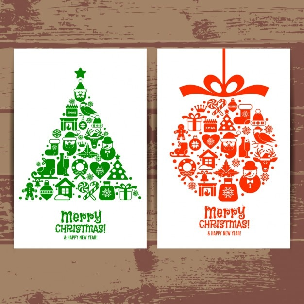Beautiful Cards Merry Christmas Of Tree And Ball Vector