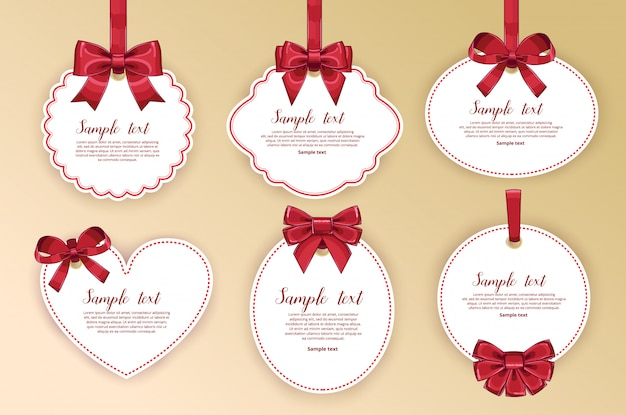 Beautiful cards with gift bows with ribbon Premium Vector