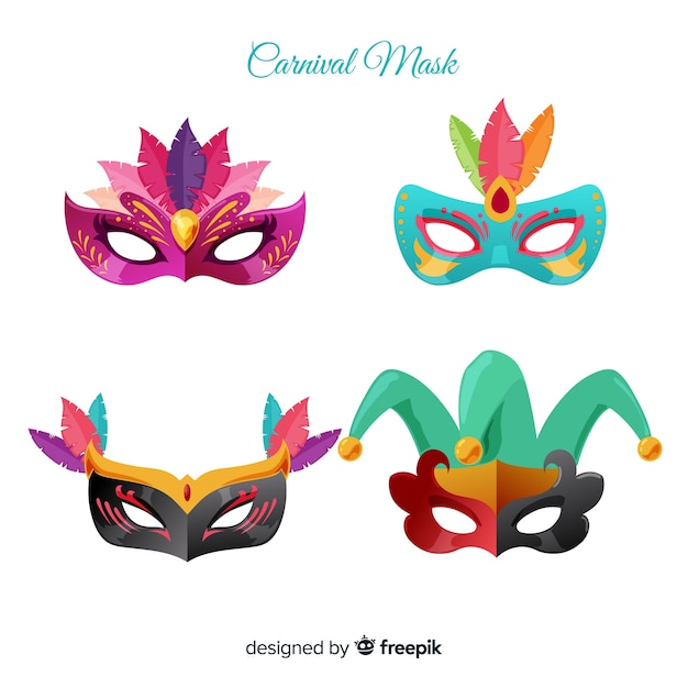 Beautiful carnival mask collection Free Vector