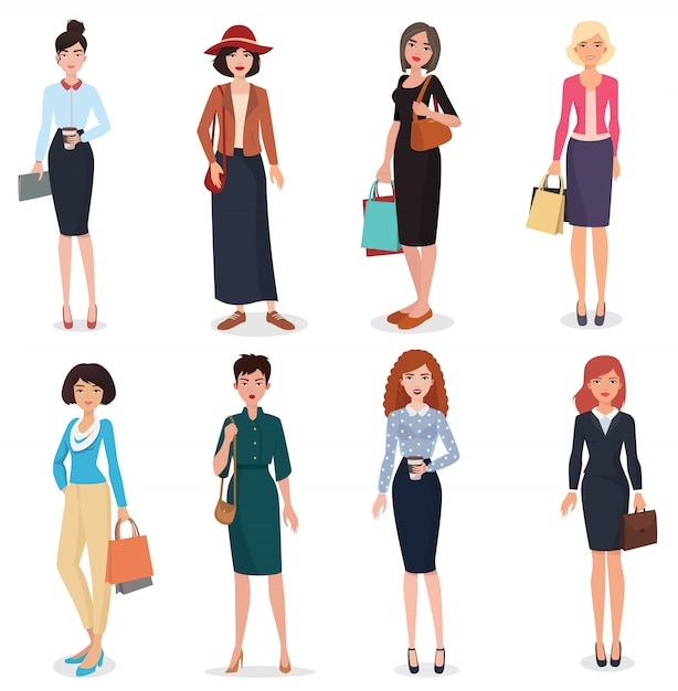 Beautiful cartoon adults woman set Premium Vector