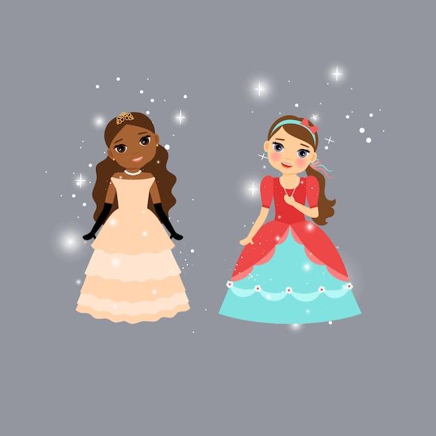Beautiful cartoon princess characters Premium Vector