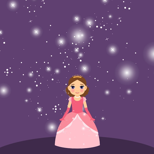 Beautiful cartoon princess on violet background Premium Vector