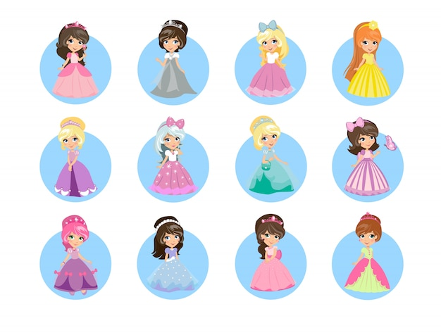 Beautiful cartoon princesses icons set. Premium Vector