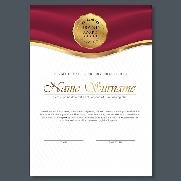 Beautiful Certificate Template Design With Best Award Symbol  Certificate Designs Free