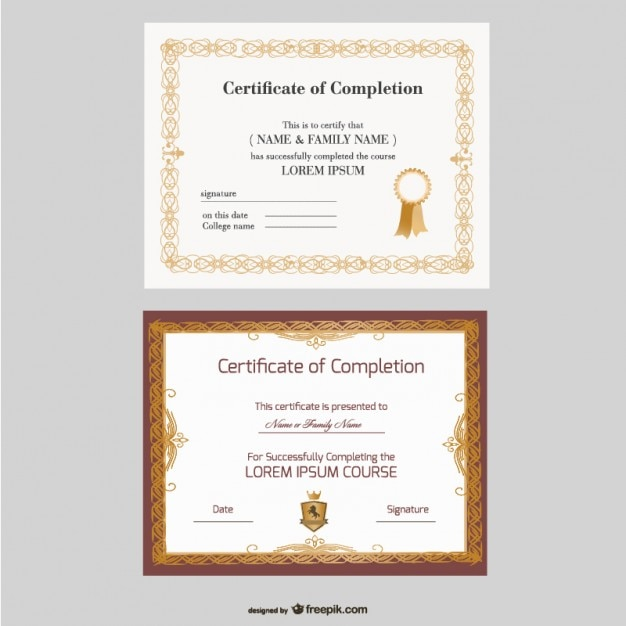 Beautiful certificate templates Vector – Achievement Certificate Templates Free