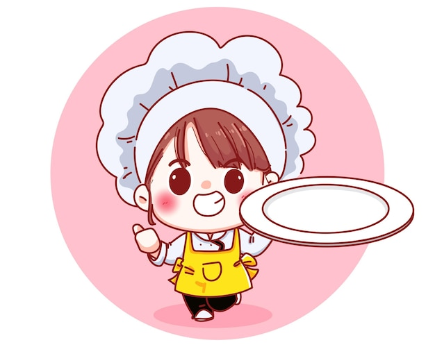 Beautiful chef girl holding an empty plate cartoon illustration Free Vector