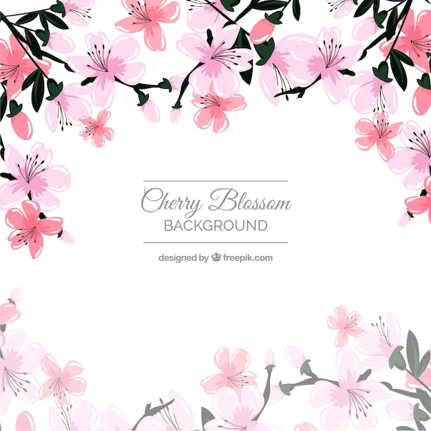 Beautiful cherry blossom background Free Vector
