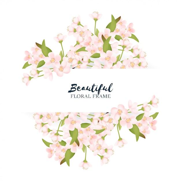 Beautiful cherry blossom flower border Premium Vector